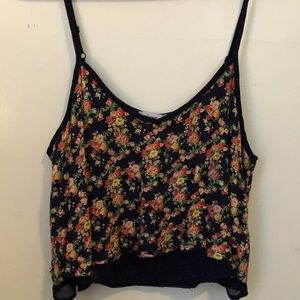 navy floral cropped cami